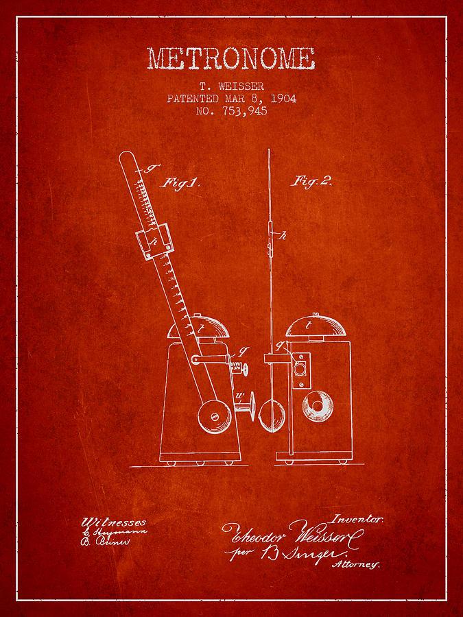 1904 Metronome Patent - Red Digital Art