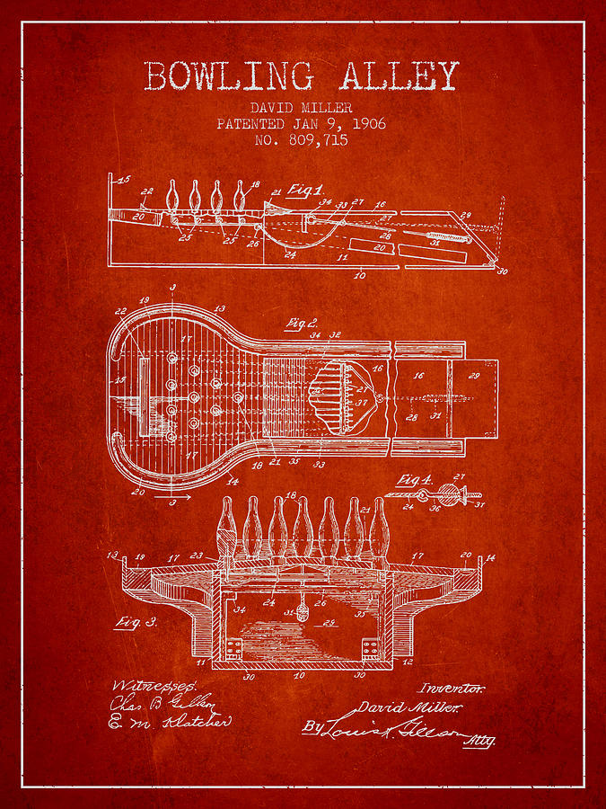 Bowling Digital Art - 1906 Bowling Alley Patent - Red by Aged Pixel