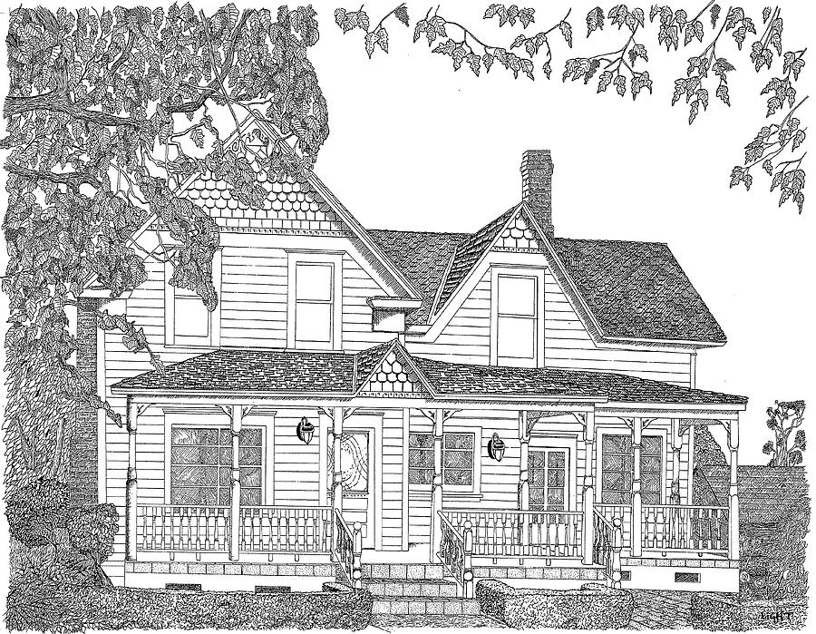 1906 Victorian Farmhouse Drawing By Mike Light