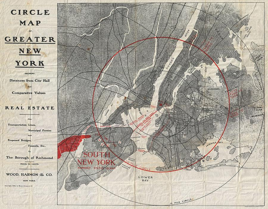 Map Of New York Showing Queens.1906 Wood Harmon Map Of New York City W Staten Island Bronx Brooklyn Queens By Paul Fearn
