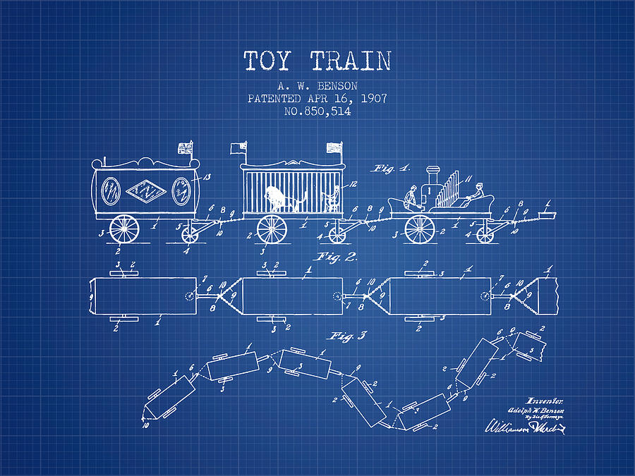 1907 toy train patent blueprint digital art by aged pixel train digital art 1907 toy train patent blueprint by aged pixel malvernweather Image collections