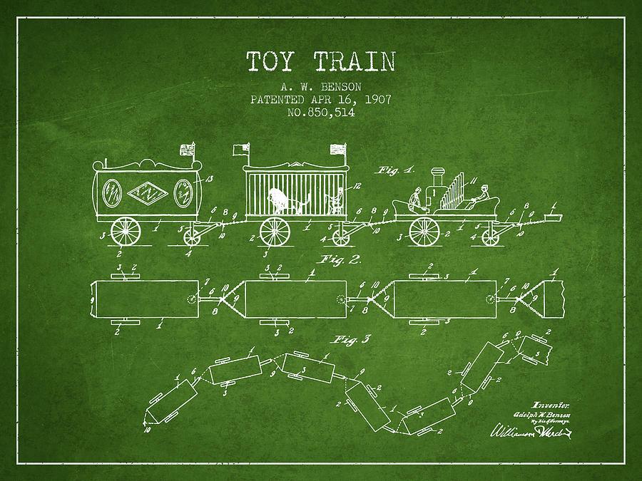 1907 Toy Train Patent - Green Digital Art