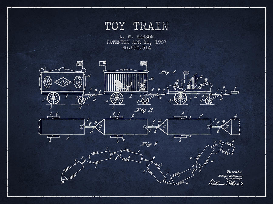 1907 Toy Train Patent - Navy Blue Digital Art