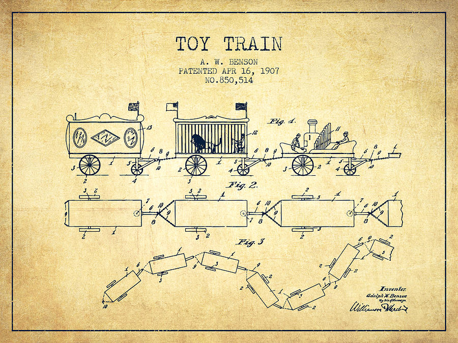 1907 Toy Train Patent - Vintage Digital Art