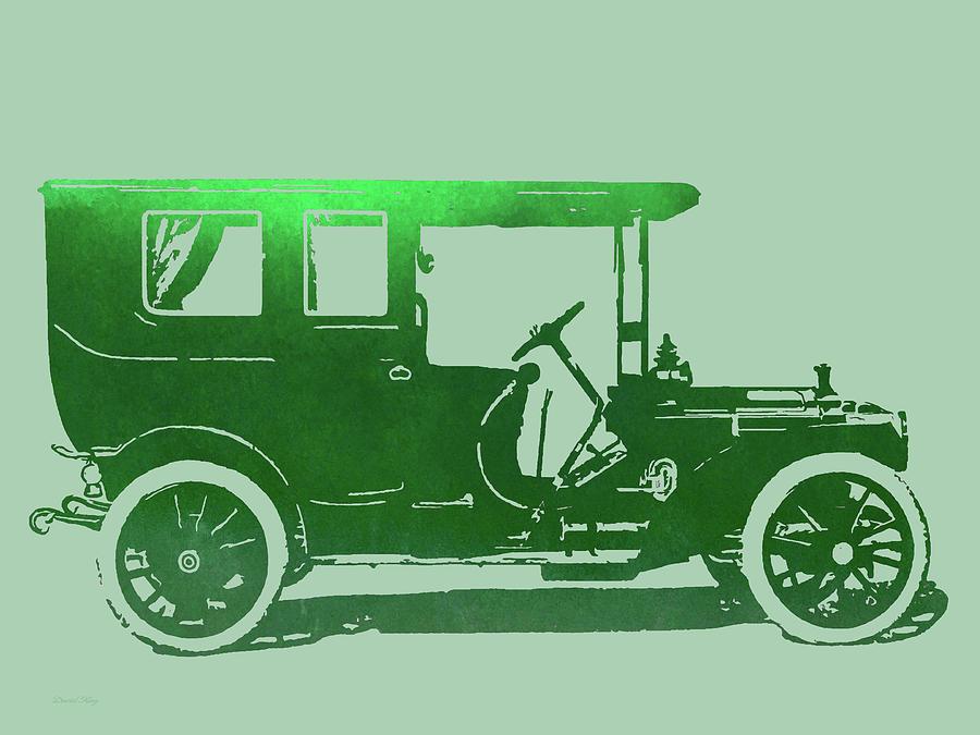 Illustration Digital Art - 1909 Packard Limousine Green Pop by David King