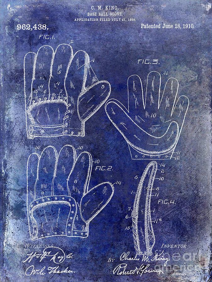 Baseball Glove Photograph - 1910 Baseball Glove Patent Blue by Jon Neidert