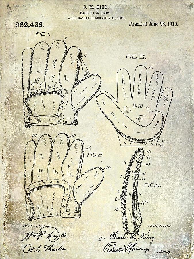 Baseball Glove Photograph - 1910 Baseball Glove Patent  by Jon Neidert