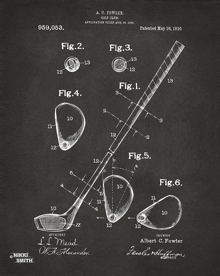 Golf Digital Art - 1910 Golf Club Patent Artwork - Gray by Nikki Marie Smith