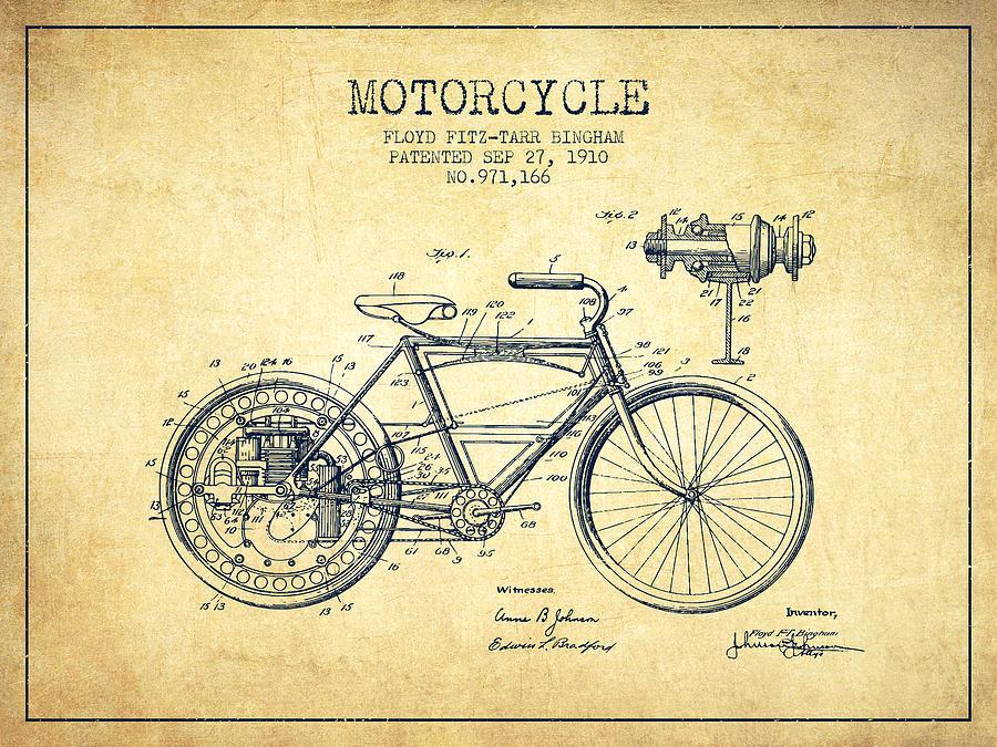 1910 Motorcycle Patent Vintage Digital Art By Aged Pixel