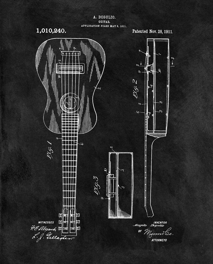 1911 Guitar Patent Illustration Drawing