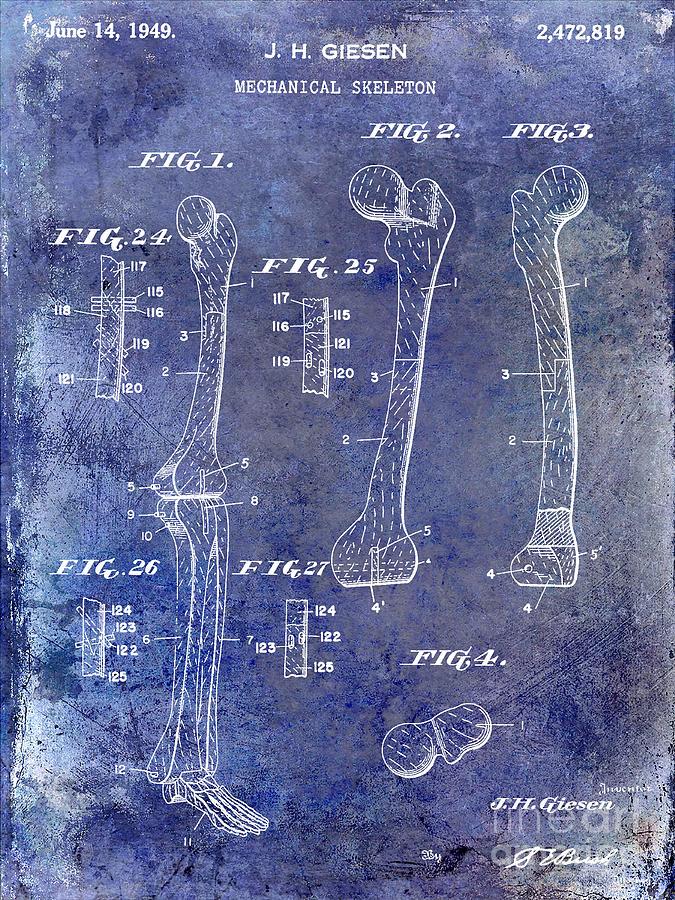 Skeleton Photograph - 1911 Mechanical Skeleton Patent 1 Blue by Jon Neidert