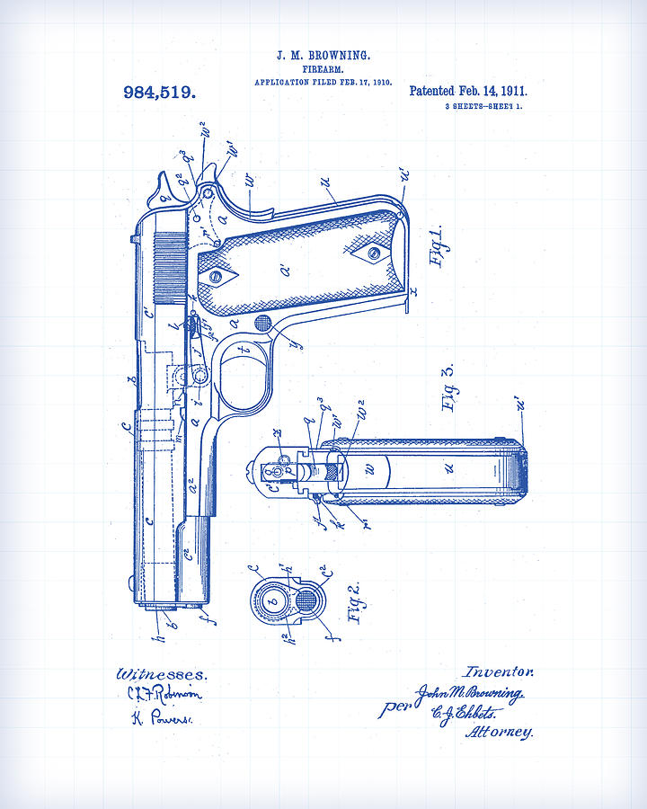 Marvelous 1911 Pistol Patent Drawing Painting By Gary Grayson Wiring Cloud Hisonuggs Outletorg