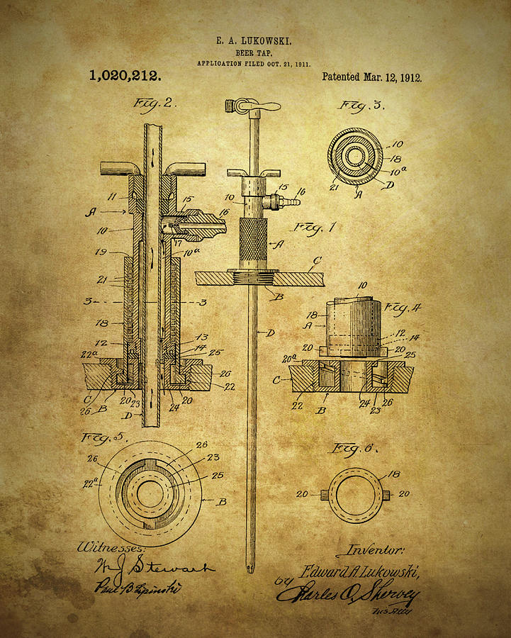 1912 Beer Tap Patent Drawing