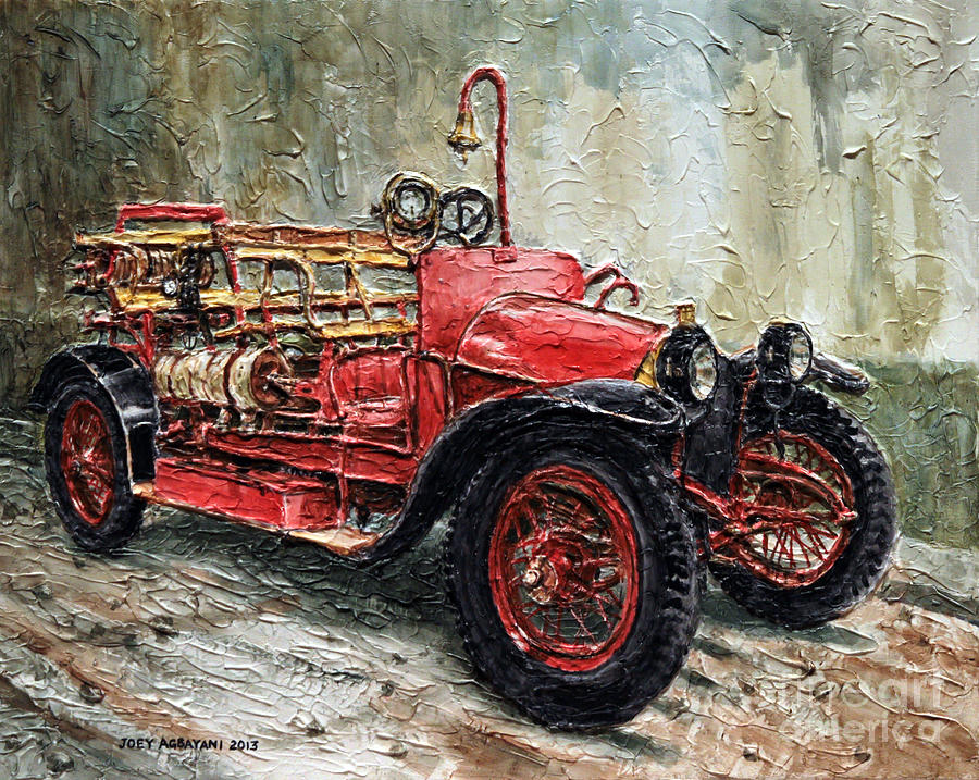 Fire Engine Painting   1912 Porsche Fire Truck By Joey Agbayani