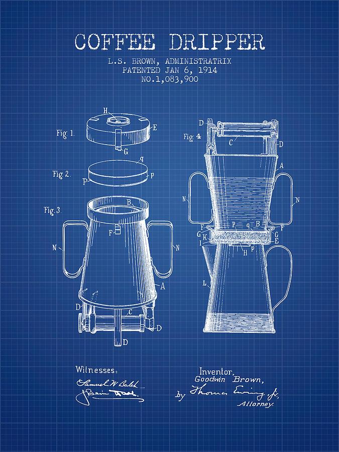 1914 coffee dripper patent blueprint digital art by aged pixel coffee digital art 1914 coffee dripper patent blueprint by aged pixel malvernweather Choice Image