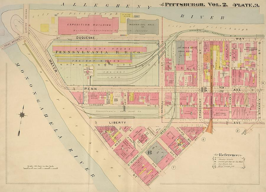 1914 Downtown Pittsburgh Drawing by Pittsburgh Past on