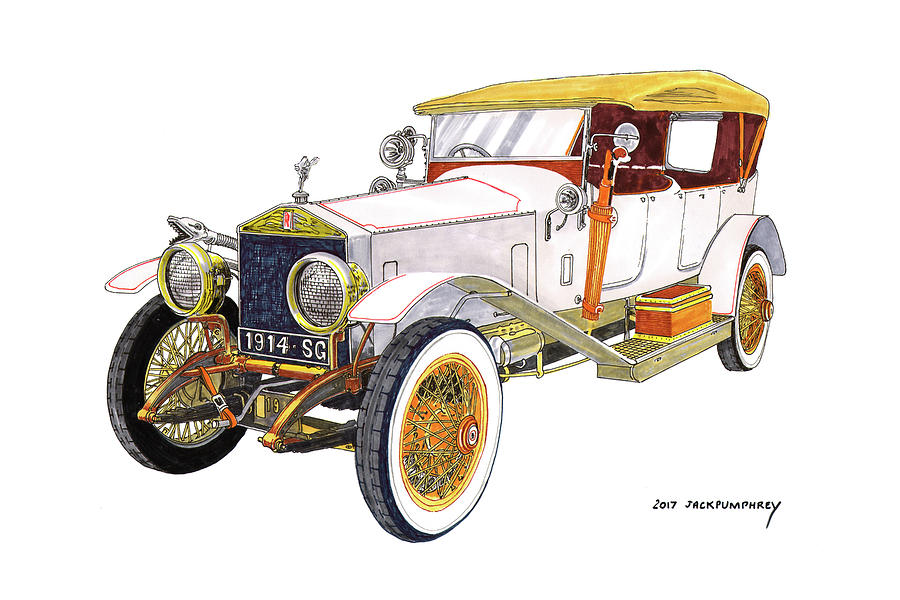1914 Rolls Royce Silver Ghost Painting by Jack Pumphrey