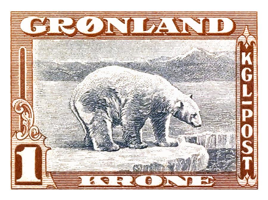 Polar Bear Digital Art - 1915 Greenland Polar Bear Postage Stamp by Retro Graphics