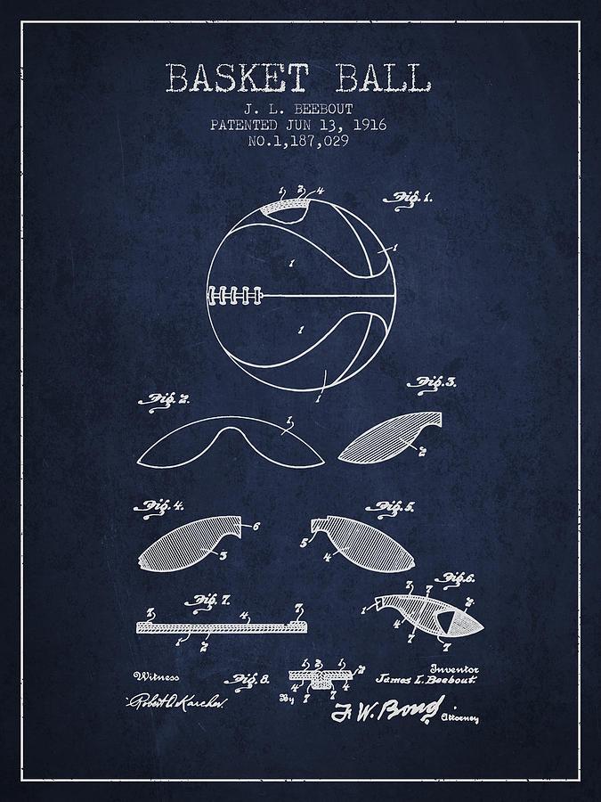 Basketball Digital Art - 1916 Basket Ball Patent - Navy Blue 1916 by Aged Pixel