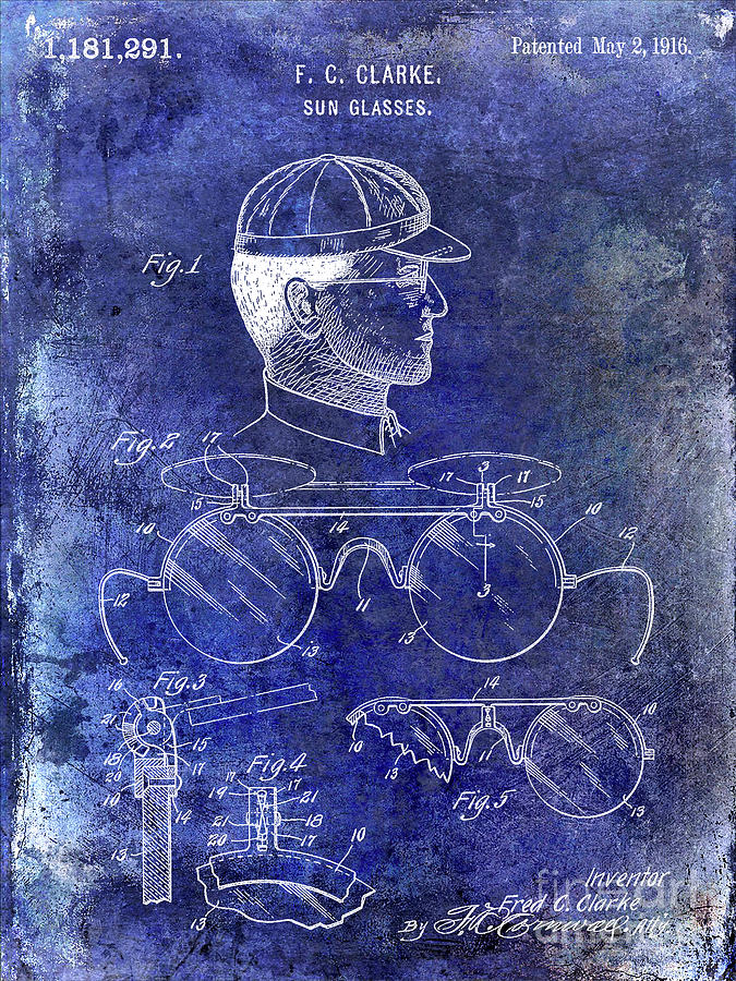 Baseball Patent Photograph - 1916 Sunglasses Patent Blue by Jon Neidert