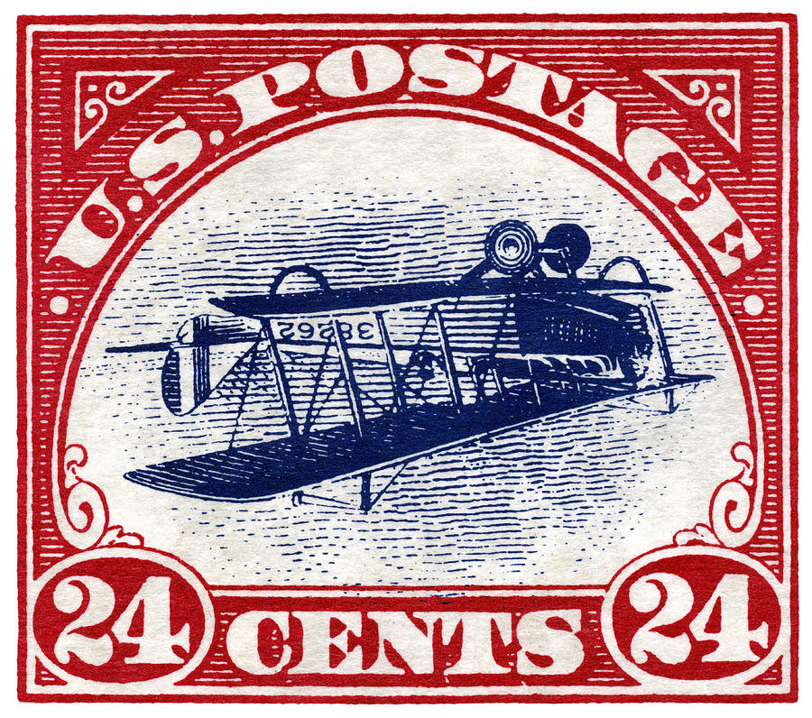 Aviation Painting - 1918 Inverted Jenny Stamp by Historic Image