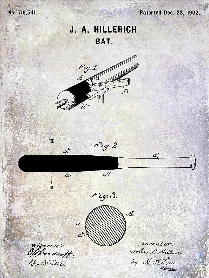 Baseball Bat Patent Photograph - 1920 Baseball Bat Patent by Jon Neidert