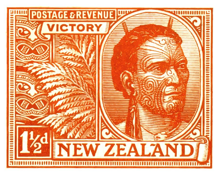 1920 new zealand maori chief postage stamp digital art by retro graphics