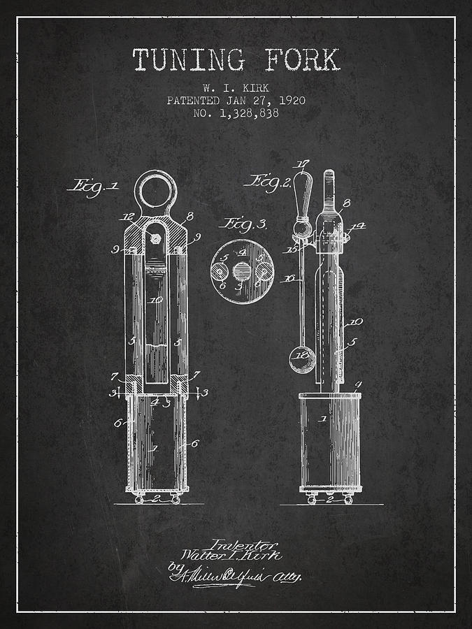 Tuning Fork Digital Art - 1920 Tuning Fork Patent - Charcoal by Aged Pixel