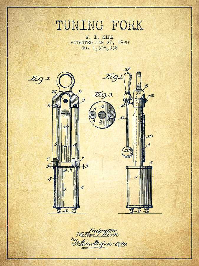 Tuning Fork Digital Art - 1920 Tuning Fork Patent - Vintage by Aged Pixel