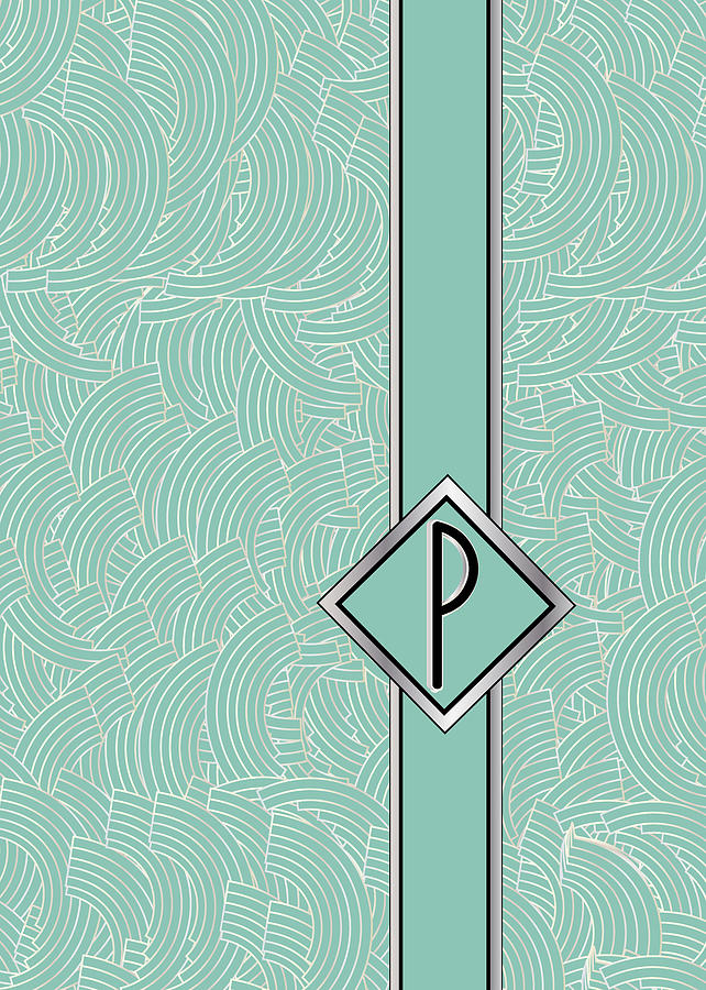 Monogram Digital Art - 1920s Blue Deco Jazz Swing Monogram ...letter P by Cecely Bloom