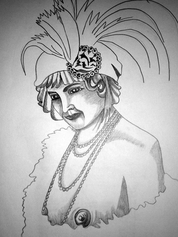 Deco Drawing - 1920s Women Series 9 by Tammera Malicki-Wong