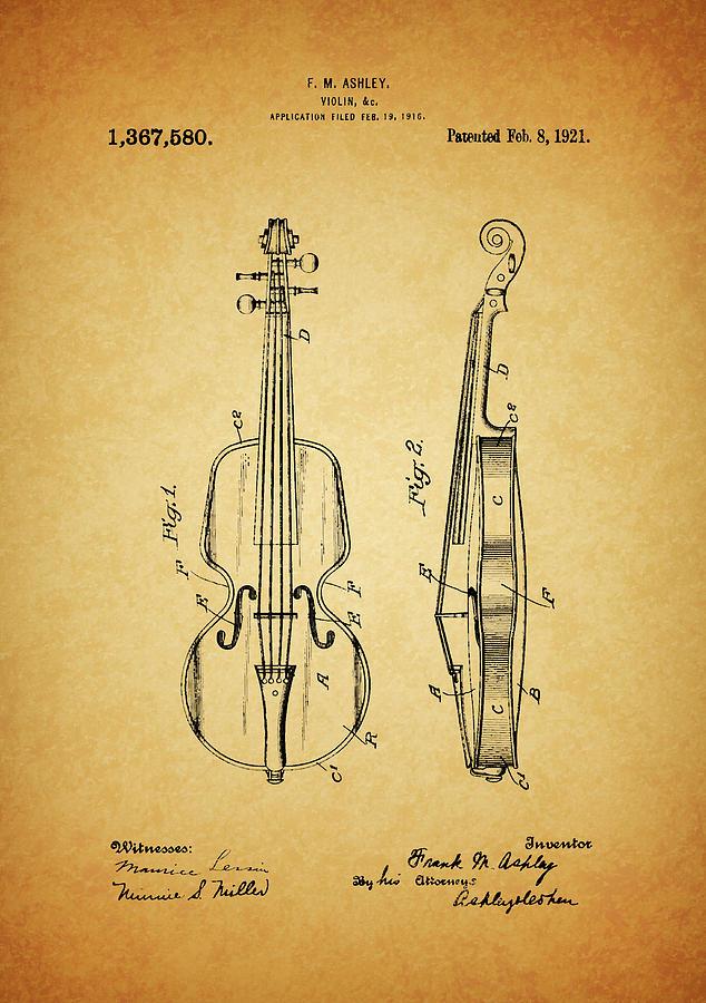 1921 Violin Patent Design Drawing