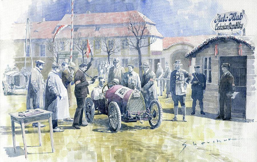 Motorsport Painting - 1922 Zbraslav Jiloviste Bugatti T13 Brescia Joan Halmovici Winner  by Yuriy Shevchuk