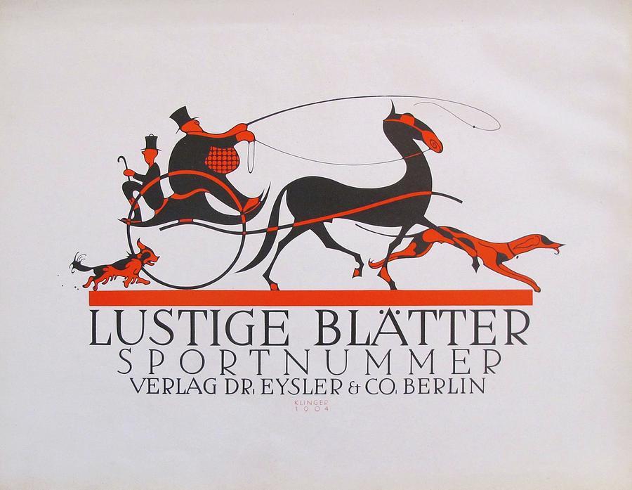 Vintage Poster Drawing - 1923 German Design Poster Lustige Blatter Sportnummer by Julius Klinger