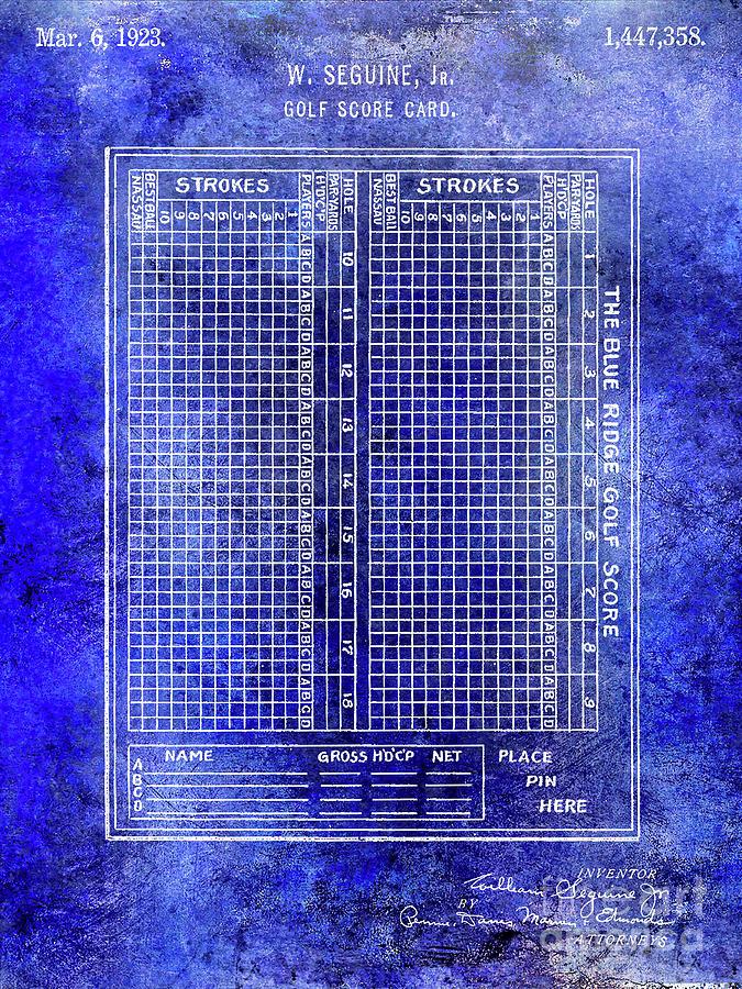 Golf Club Photograph - 1923 Golf Score Card Patent Blue by Jon Neidert