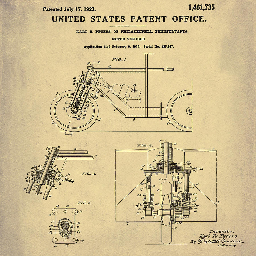 1923 Motorcycle Patent In Sepia Photograph by Bill Cannon