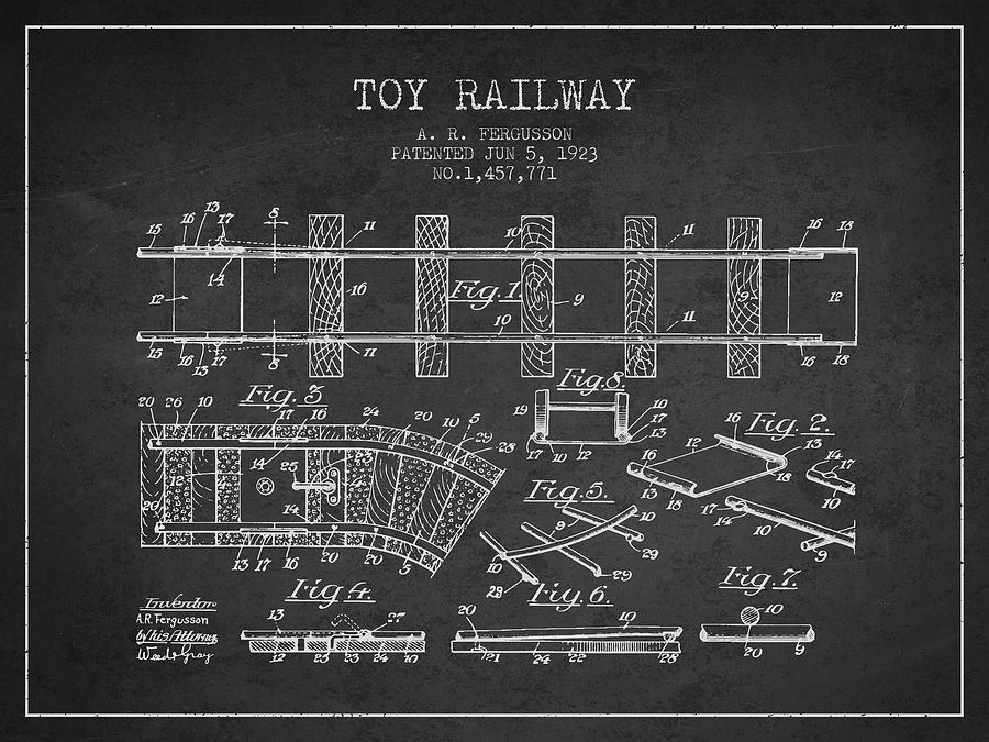 1923 Toy Railway Patent - Charcoal Digital Art