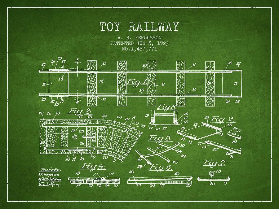 1923 Toy Railway Patent - Green Digital Art
