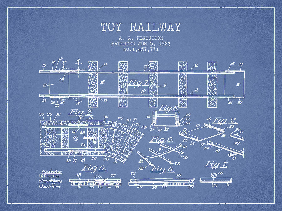 1923 Toy Railway Patent - Light Blue Digital Art