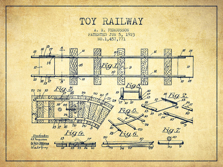 1923 Toy Railway Patent - Vintage Digital Art