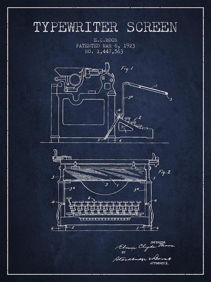 1923 Typewriter Screen Patent - Navy Blue Digital Art