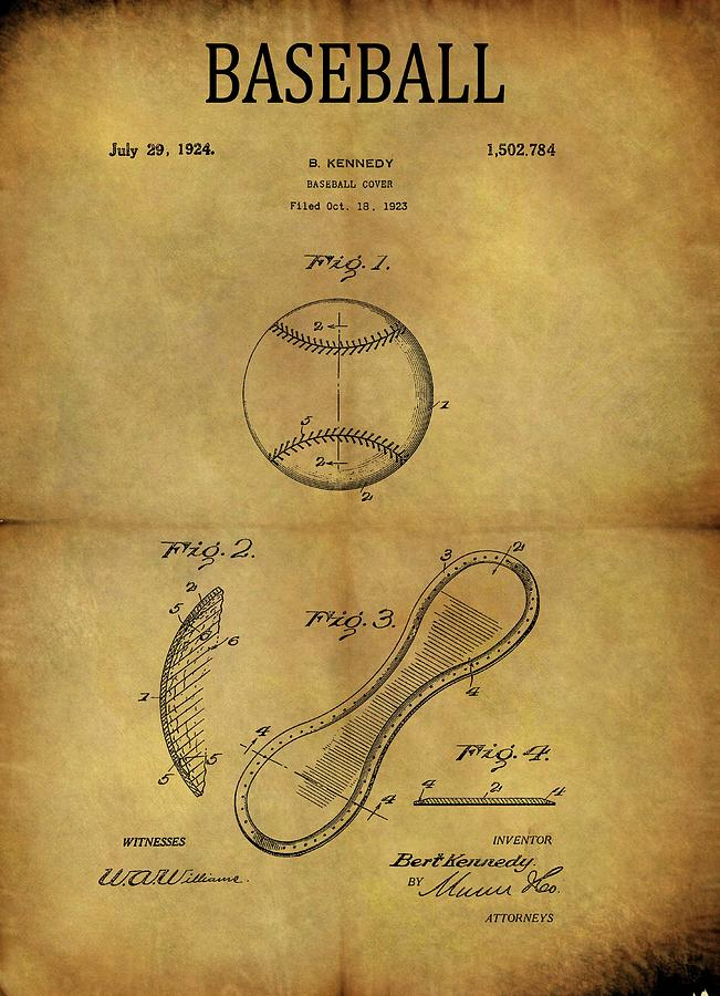 Antique Drawing - 1924 Baseball Patent by Dan Sproul