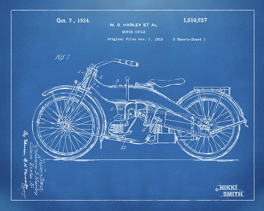 1924 harley motorcycle patent artwork blueprint digital art by harley davidson digital art 1924 harley motorcycle patent artwork blueprint by nikki marie smith malvernweather Image collections