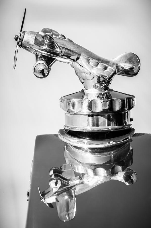 Bw Photograph - 1926 Rickenbacker Eight Super Sport Hood Ornament -1145bw by Jill Reger