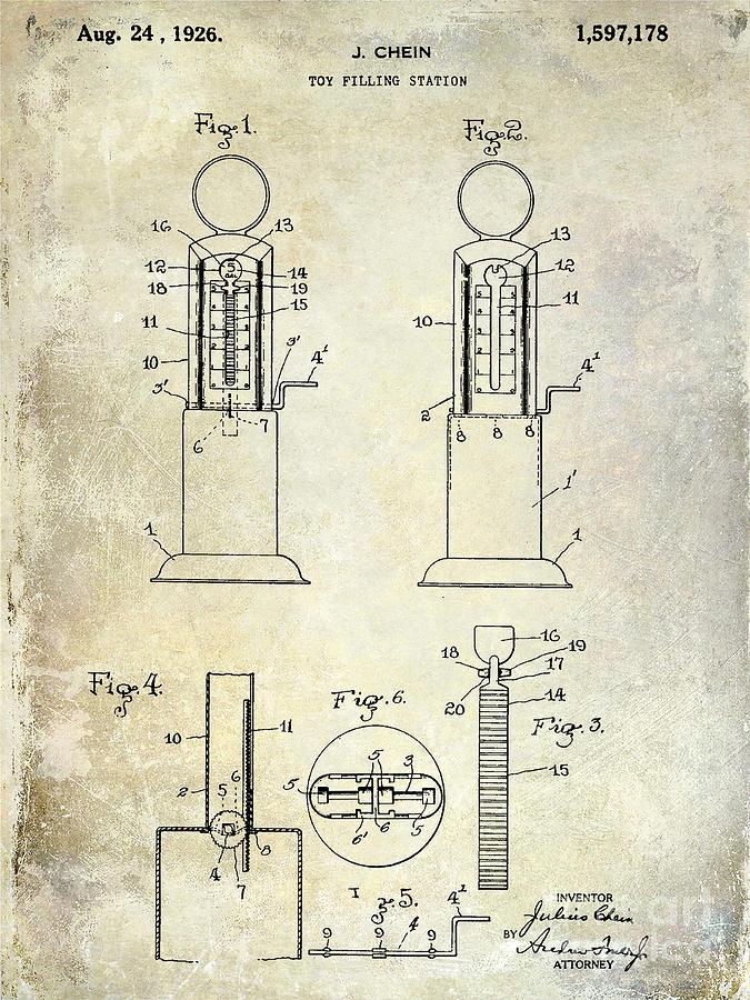 Toy Photograph - 1926 Toy Filling Station Patent by Jon Neidert