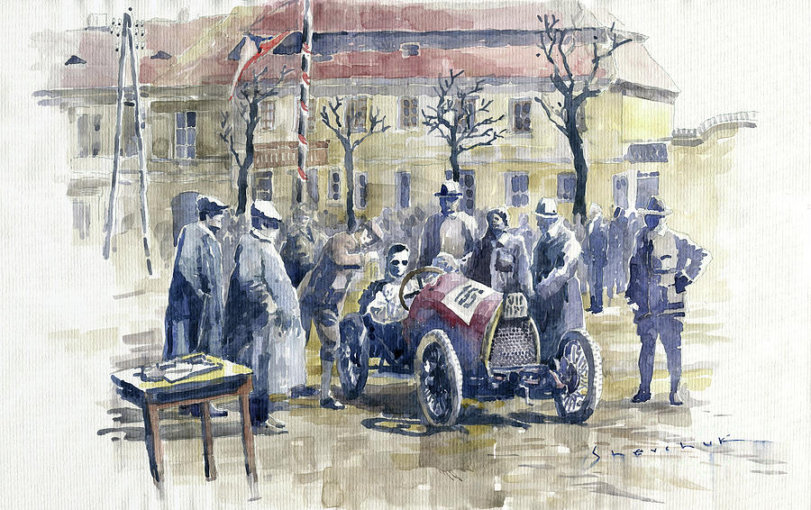 Watercolor Painting - 1922 Zbraslav Jiloviste Start Bugatti T13 Brescia. by Yuriy Shevchuk