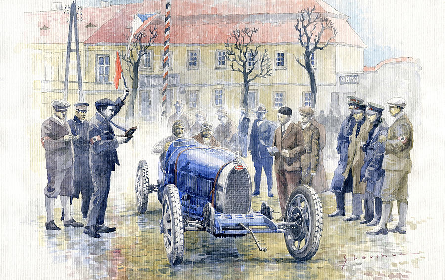 Watercolor Painting - 1926 Zbraslav Jiloviste Start Bugatti T35b Cenek Junek Elisabeth Junek  1926 by Yuriy Shevchuk