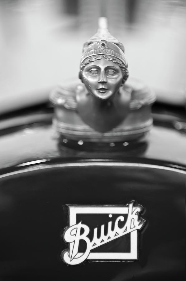 Black And White Photograph - 1928 Buick Custom Speedster Hood Ornament 4 by Jill Reger