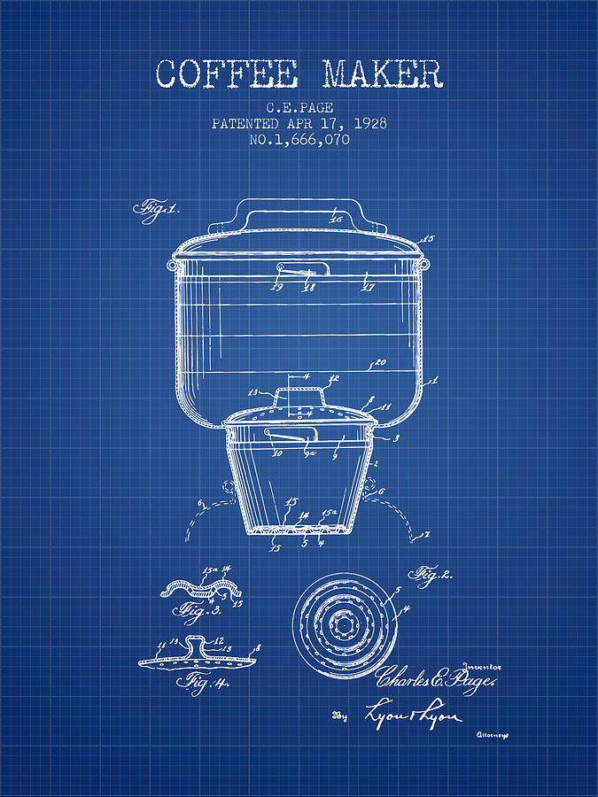 1928 coffee maker patent blueprint digital art by aged pixel