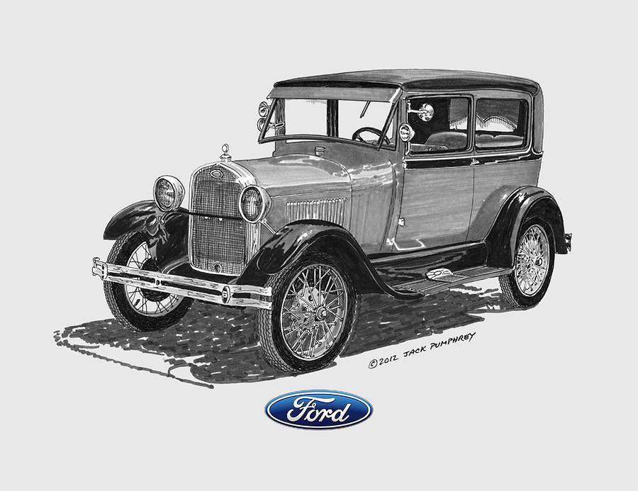 Classic Model A Ford Artwork Painting -  Model A Ford 2 Door Sedan by Jack Pumphrey